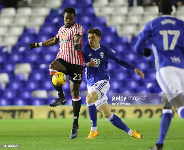Lamine Kone of Sunderland makes a tackle during the Sky Bet Championship match between Birmingham City and Sunderland at St Andrews on January 30...