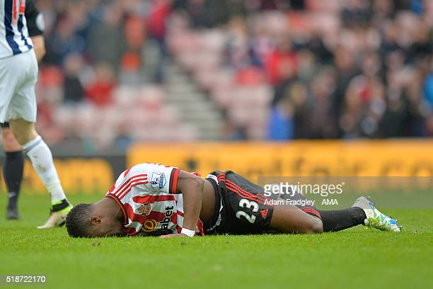 Lamine Kone of Sunderland reacts during the Barclays Premier League match between Sunderland and West Bromwich Albion at Stadium of Light on April 2...