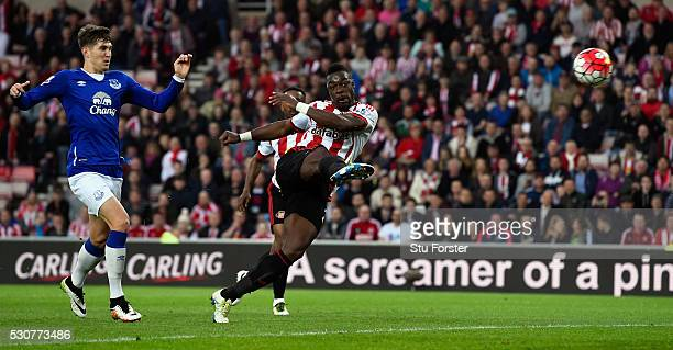 Lamine Kone of Sunderland scores his team's second goal during the Barclays Premier League match between Sunderland and Everton at the Stadium of...