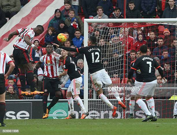 Lamine Kone of Sunderland scores their second goal during the Barclays Premier League match between Sunderland and Manchester United at Stadium of...