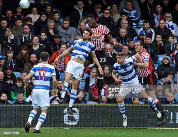 Lamine Kone of Sunderland wins a header during the Sky Bet Championship match between Queens Park Rangers and Sunderland at Loftus Road on March 10...