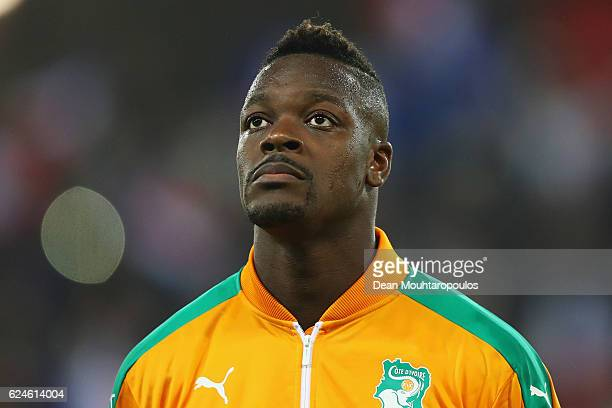 Lamine Kone of The Ivory Coast stands for the national anthem prior to the International Friendly match between France and Ivory Coast held at Stade...