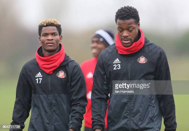 Lamine Kone warms up with Didier N'Dong during a SAFC training session at The Academy of Light on October 10 2017 in Sunderland England