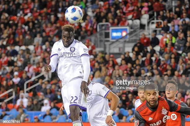 Lamine Sané seen heading the ball by head during 2018 MLS Regular Season match between Toronto FC and Orlando City SC at BMO Field .