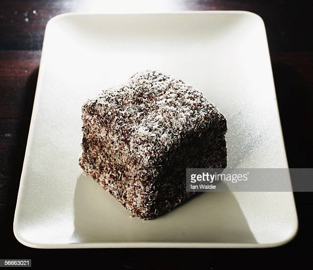 Lamington cake is pictured January 25 2006 in Sydney Australia The cake an Australian specialty is a cube of plain cake dipped in melted chocolate...