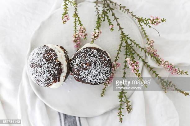 lamington cakes on a plate