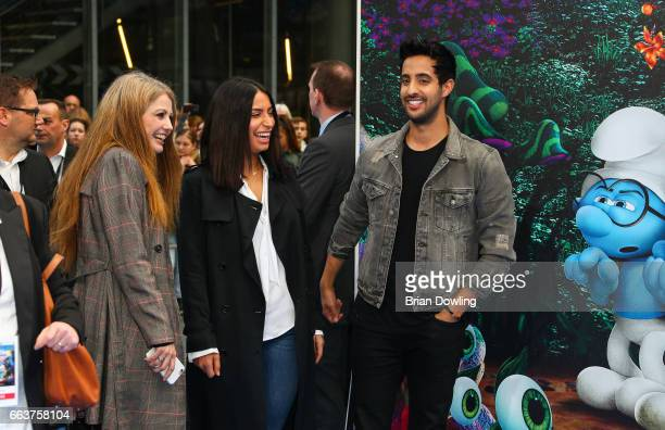 Lamiya Slimani and Sami Slimani arrive at the 'Die Schluempfe Das verlorene Dorf' Berlin premiere at Sony Centre on April 2 2017 in Berlin Germany