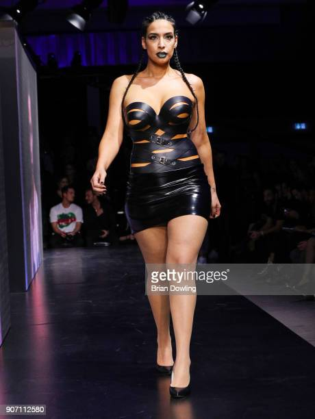 Lamiya Slimani walks the runway during the Maybelline Show 'Urban Catwalk Faces of New York' at Vollgutlager on January 18 2018 in Berlin Germany