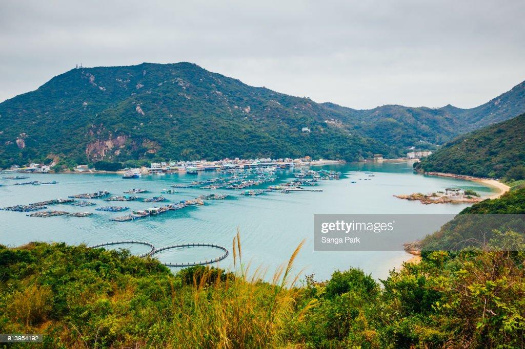 Lamma island sea village hiking road, nature landscape in Hong Kong : Stock Photo