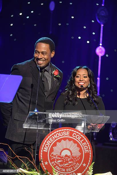 Lamman Rucker and Keshia Knight Pulliam onstage at the 26th Annual 'A Candle in the Dark' Gala and Inaugural Ball at The Hyatt Regency Atlanta on...