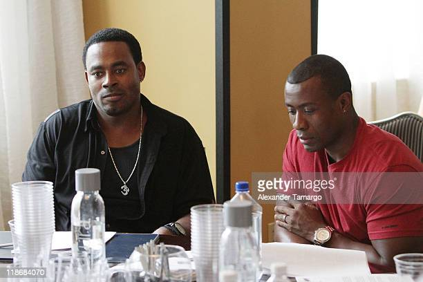 Lamman Rucker and Sean Blakemore attend the gmc TV Screenplay Competition Table Read Rehearsal at ABFF at Ritz Carlton South Beach on July 7 2011 in...