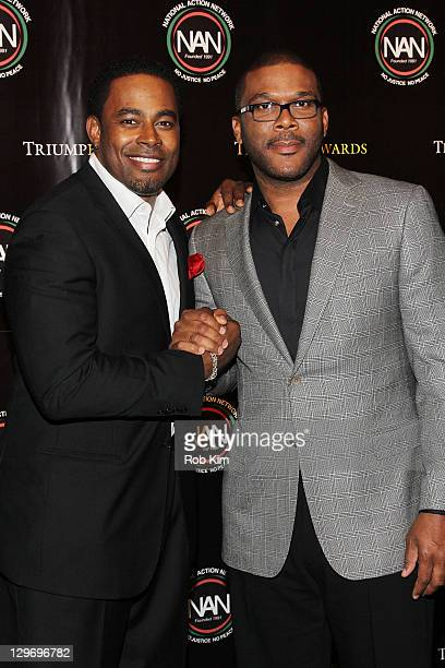 Lamman Rucker and Tyler Perry attend the 2nd Annual Triumph Awards at the Rose Theater Jazz at Lincoln Center on October 19 2011 in New York City