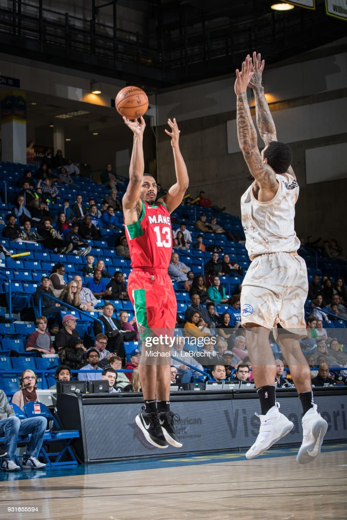 Lamond Murray Jr. #13 of the Maine Red Claws shoots the ball against the Delaware 87ers during a G-League game on March 13, 2018 at the Bob Carpenter Center in Newark, Delaware.