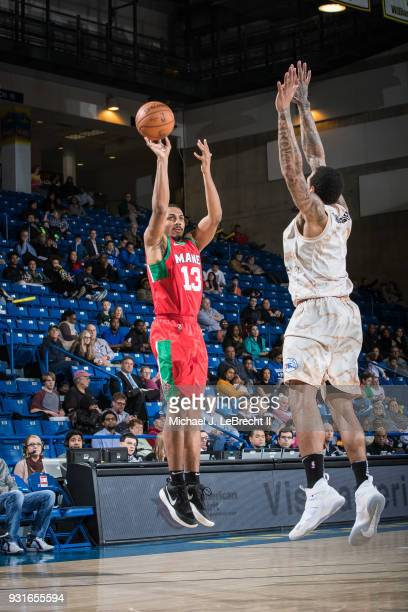 Lamond Murray Jr #13 of the Maine Red Claws shoots the ball against the Delaware 87ers during a GLeague game on March 13 2018 at the Bob Carpenter...