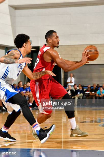 Lamond Murray Jr #58 of the Miami Heat passes the ball during the game against the Detroit Pistons during the 2017 Orlando Summer League on July 4...