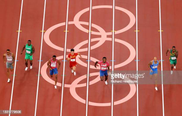 Lamont Marcell Jacobs of Team Italy leads the Men's 100m Final field on day nine of the Tokyo 2020 Olympic Games at Olympic Stadium on August 01,...