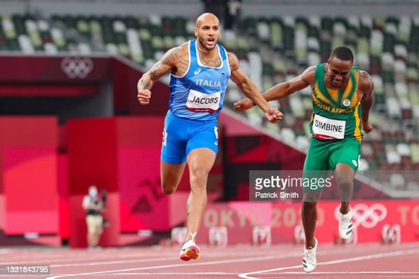 Lamont Marcell Jacobs of Team Italy wins the Men's 100m Final on day nine of the Tokyo 2020 Olympic Games at Olympic Stadium on August 01, 2021 in...