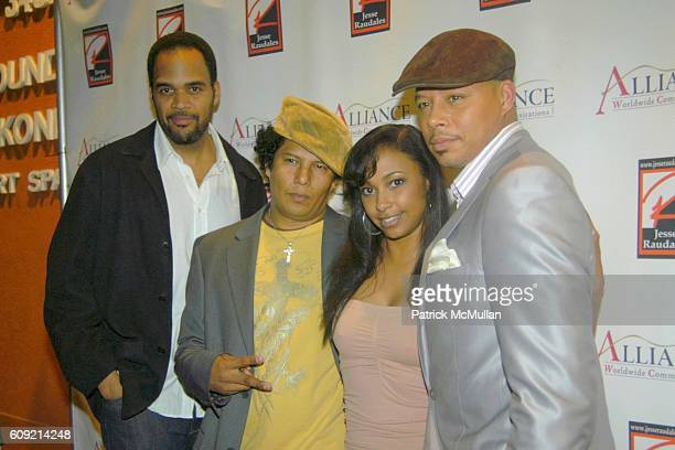 Lamont Peete Jesse Raudales Jazsmin Lewis and Terrence Howard attend Olympic Artist Jesse Raudales 'Peace for the Children' Art Show' at Los Angeles...