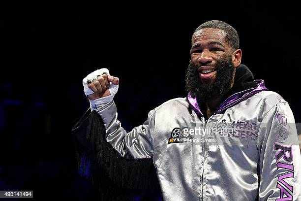 Lamont Peterson celebrates after defeating Felix Diaz Jr during their welterweight bout on the campus of George Mason University on October 17 2015...