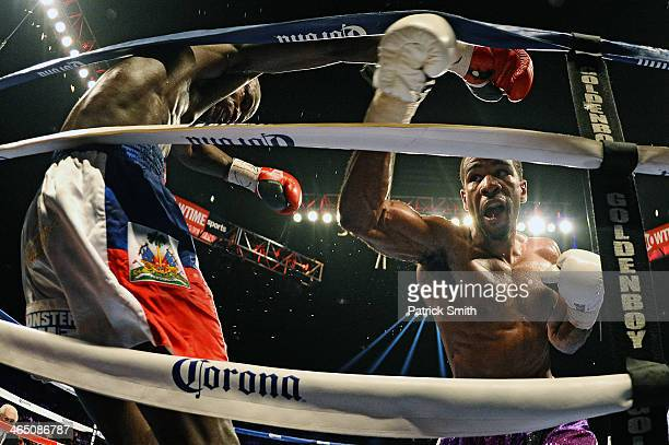 Lamont Peterson fights Dierry Jean in their IBF Junior Welterweight World Championship match at the DC Armory on January 25, 2014 in Washington, DC....