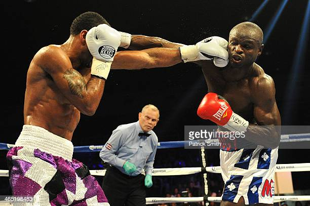 Lamont Peterson fights Dierry Jean in their IBF Junior Welterweight World Championship match at the DC Armory on January 25 2014 in Washington DC...
