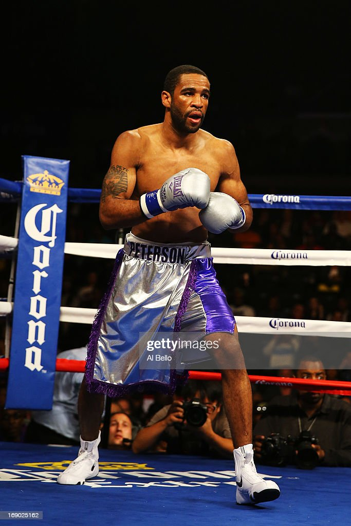 Lamont Peterson gets ready to fight Lucas Matthysse during their Welterweight fight at Boardwalk Hall Arena on May 18, 2013 in Atlantic City, New Jersey.