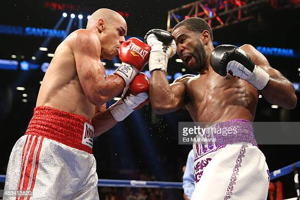 Lamont Peterson lands a right uppercut to the head of Edgar Santana during their IBF junior welterweight championship fight at the Barclays Center on...