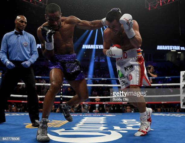 Lamont Peterson left hits David Avanesyan during their Welterweight Championship fight on February 18 2017 in Cincinnati Ohio