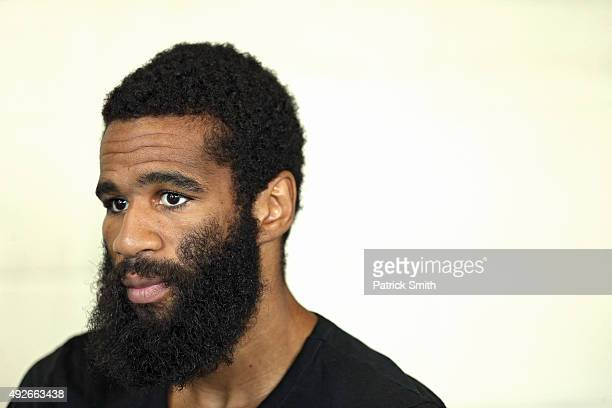 Lamont Peterson looks on during fighter media workouts in the Alexandria Boxing Club at the Charles Houston Recreation Center on October 14 2015 in...