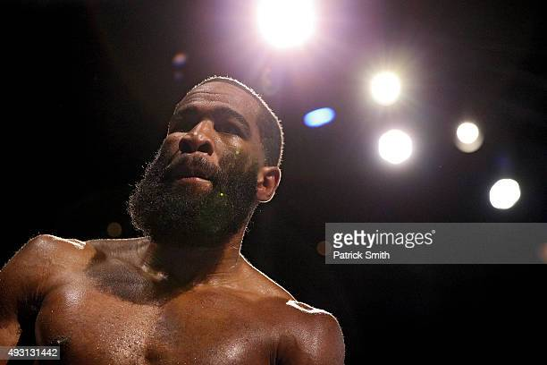 Lamont Peterson looks on inbetween rounds against Felix Diaz Jr during their welterweight bout on the campus of George Mason University on October 17...