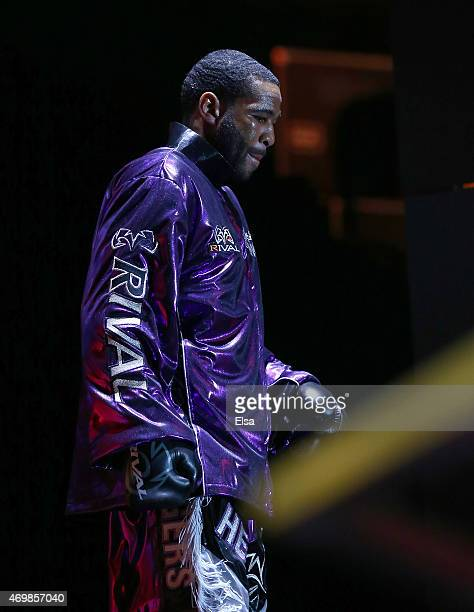 Lamont Peterson makes his entrance before his fight with Danny Garcia during the Premier Boxing Champions Middleweight bout at Barclays Center on...
