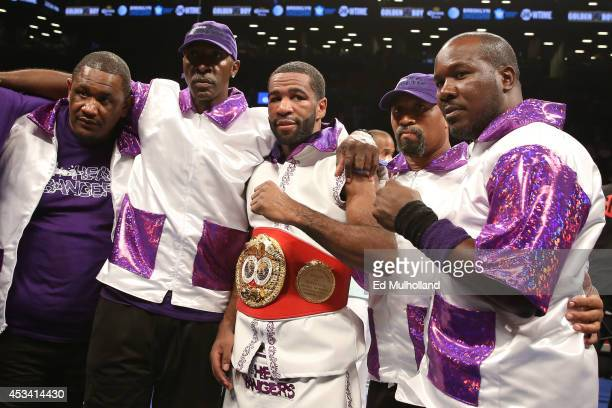 Lamont Peterson poses after his TKO win over Edgar Santana in their IBF junior welterweight championship fight at the Barclays Center on August 9...