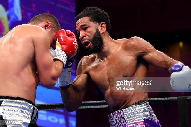 Lamont Peterson punches Sergey Lipinets during their welterweight fight at The Theater at MGM National Harbor on March 24 2019 in Oxon Hill Maryland