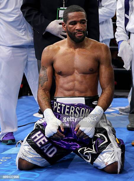 Lamont Peterson reacts to his loss to Danny Garcia during the Premier Boxing Champions Middleweight bout at Barclays Center on April 11 2015 in the...