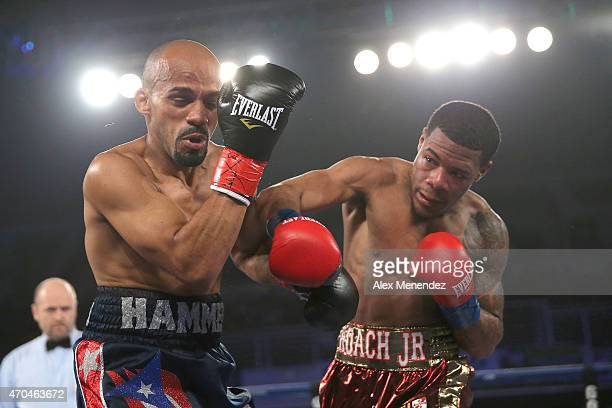 Lamont Roach Jr connects with a right hand to head of Jose Miguel Castro at the Turning Stone Resort Casino on April 18 2015 in Verona New York