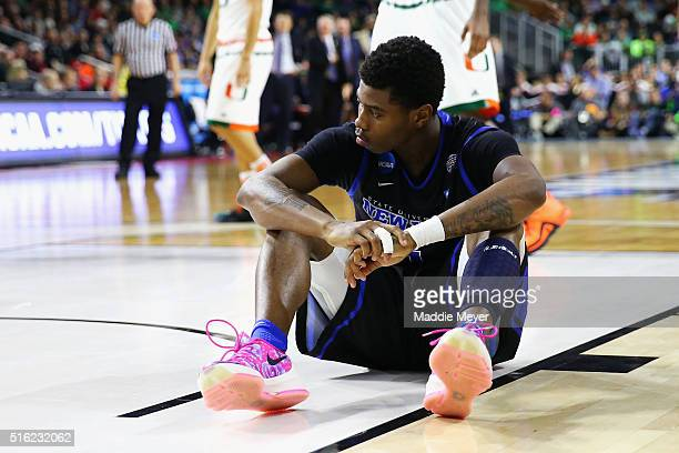 Lamonte Bearden of the Buffalo Bulls reacts during the second half against the Miami Hurricanes during the first round of the 2016 NCAA Men's...