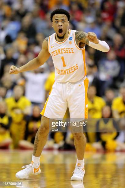 Lamonte Turner of the Tennessee Volunteers reacts after being called for a foul against the Iowa Hawkeyes during their game in the Second Round of...