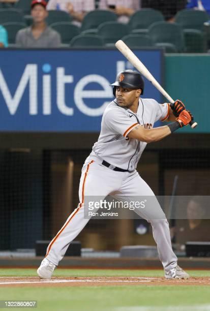 LaMonte Wade Jr of the San Francisco Giants bats against the Texas Rangers at Globe Life Field on June 9, 2021 in Arlington, Texas.