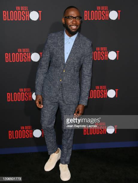 """Lamorne Morris attends the premiere of Sony Pictures' """"Bloodshot"""" on March 10, 2020 in Los Angeles, California."""