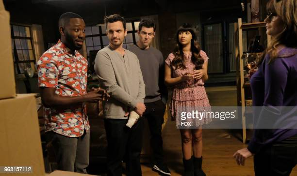 """Lamorne Morris, Jake Johnson, Max Greenfield, Hannah Simone and Zooey Deschanel in """"Engram Pattersky,"""" the second part of the special one-hour series..."""