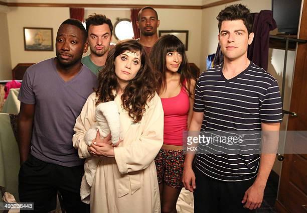 "Lamorne Morris, Jake Johnson, Zooey Deschanel, Damon Wayans Jr., Hannah Simone and Max Greenfield in the ""Cruise"" Season Finale episode of NEW GIRL..."
