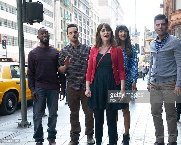 """Lamorne Morris, Jake Johnson, Zooey Deschanel, Hannah Simone and Max Greenfield in the special """"Homecoming"""" NEW GIRL/BROOKLYN NINE-NINE crossover..."""