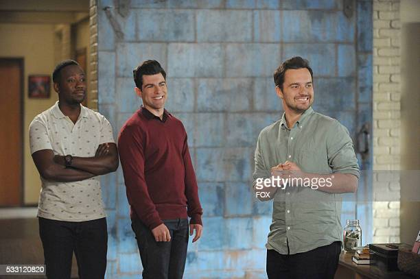 Lamorne Morris Max Greenfield and Jake Johnson in the 'No Girl' episode of NEW GIRL airing Tuesday Jan 26 on FOX