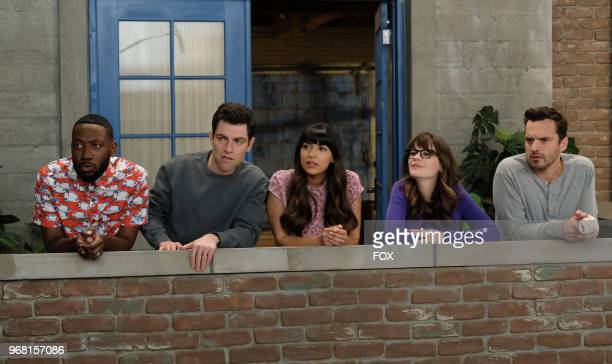 """Lamorne Morris, Max Greenfield, Hannah Simone, Zooey Deschanel and Jake Johnson in """"Engram Pattersky,"""" the second part of the special one-hour series..."""