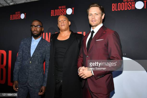 Lamorne Morris Vin Diesel and Sam Heughan attend the premiere of Sony Pictures' Bloodshot on March 10 2020 in Los Angeles California