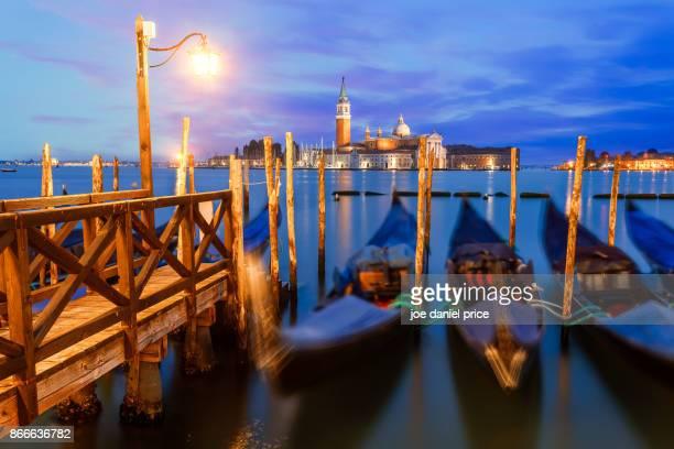 Lamp and Gondolas, Venice, Italy