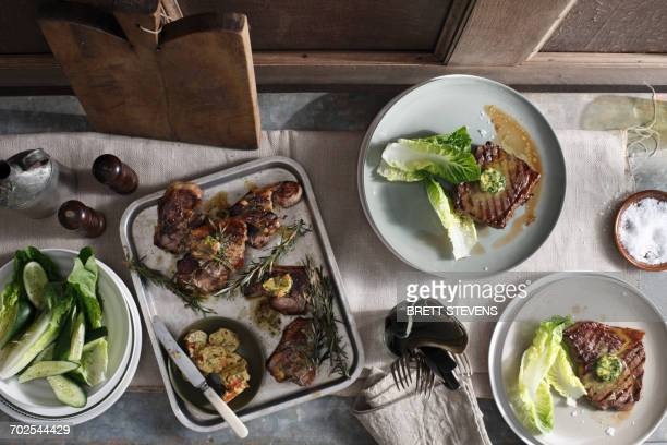 Lamp chops and rump steak with salad