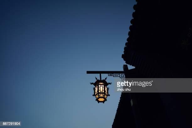 A lamp on China's pingyao ancient street