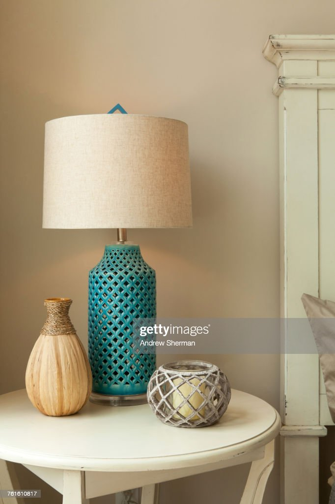 Lamp on table in bedroom : Stock Photo