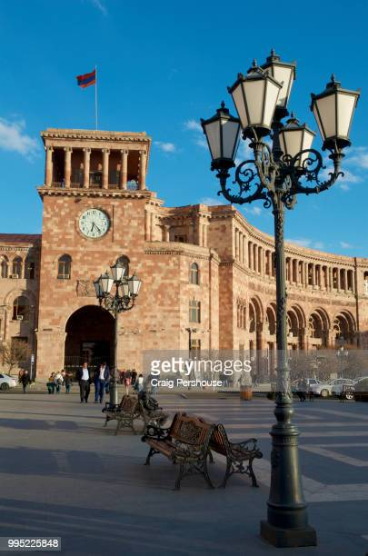 lamp post in republic square before government building. - armenian flag stock pictures, royalty-free photos & images